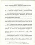 Position Paper of the National Association for Equal Opportunity in Higher Education on Propositino of the New NCAA Rules, Washington D.C.