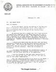 Dr. Benjamin Hooks, Letter Concerning NAACP National Board of Directors, Baltimore, Maryland