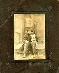Photography: Cabinet Cards, Man on Porch with Pet Terrier
