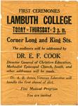 Lambuth College first ceremonies notice, circa 1923