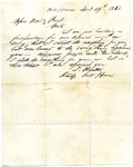 D. Winters letter, Fort Harris, Tennessee, 1861