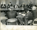 City and union leaders discuss sanitation workers' strike, Memphis, February 1968