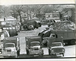 Garbage trucks stand idle, Memphis, 1968