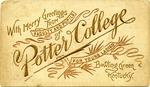 Potter College, Kentucky, card, circa 1893