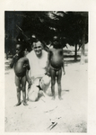 Unidentified man and children, Egypt, 1940s