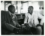 Muddy Waters and Memphis Slim backstage at the Orpheum Theater, 1981
