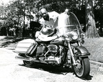 Isaac Hayes with his motorcycle, 1974