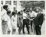 Dr. Hollis Price bids farewell to students at LeMoyne-Owen College, Memphis, Tennesee, 1970