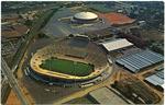 Aerial view of Memphis Memorial Stadium and Mid-South Coliseum, circa 1970