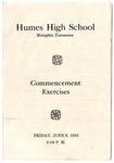 Humes High School, Memphis, commencement program, 1930