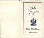 Cafe Gayoso, Memphis, menu, 1925