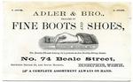 Adler & Bro., Memphis, advertising card, circa 1877