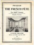 French Fete program, Higbee School alumnae, 1908