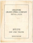 Creatore Grand Opera Company program, Memphis, 1919