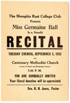 Recital flier, Memphis Rust College Club, 1952