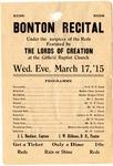Bonton Recital program, Memphis, 1915