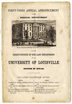 University of Louisville Medical and Law Departments Announcement, 1879-1880