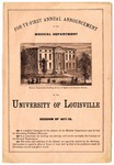 University of Louisville Medical Department announcement, 1877-1878