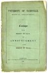 University of Nashville Medical Department announcement, 1858-1859