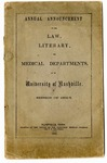 University of Nashville Law, Literary and Medical Departments announcement, 1854-1855