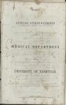 University of Nashville Medical Department announcements, 1851-1853