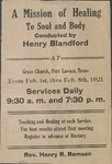A Mission of Healing to Soul and Body Conducted by Henry Blandford, 1921