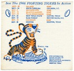 Memphis State University football schedule napkin, 1966