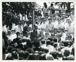 President Humphreys talks to student demonstrators, 1970