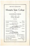 Memphis State College commencement, 1943. Program