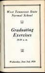 West Tennessee State Normal School commencement, 1920. Program