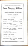 West Tennessee State Teachers College commencement, 1939. Program