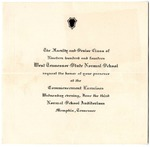 West Tennessee State Normal School commencement, 1914. Invitation