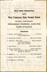 West Tennessee State Normal School commencement, 1915. Program