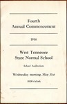 West Tennessee State Normal School commencement, 1916. Program