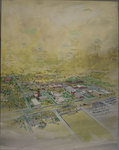 Watercolor painting of Memphis State University campus by Peter Thomas