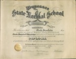 West Tennessee State Normal School diploma of Ruth Stanfield, Memphis, 1918