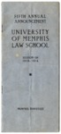 University of Memphis Law School Fifth Annual Announcement, 1913-1914